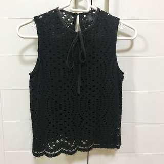 Bottomline Black Lace Top