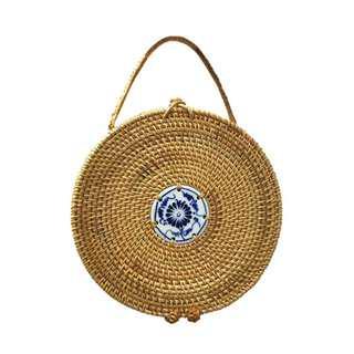 Round Rattan Clutch Bag