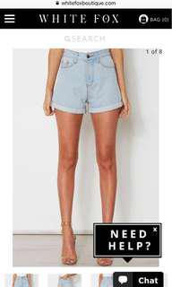 Shaaanxo x whitefox denim shorts
