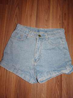 Size 8 high waisted denim shorts