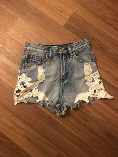 Denim high waisted shorts size 8
