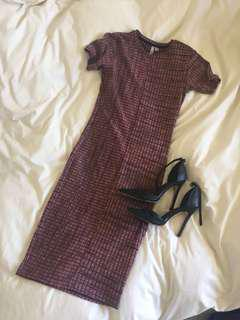 Checkered ribbed dress body con