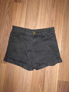 Basic black denim high waisted shorts size 8