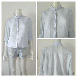 H&M Divided Light Blue Stripes Polo Top