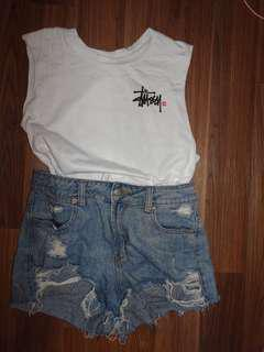 Stussy white muscle top size 8