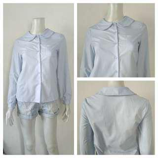 Light Blue Round Collar Office Polo Top