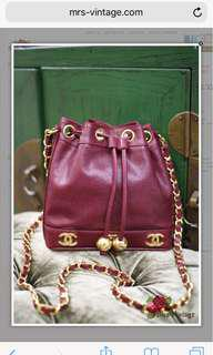 Vintage Chanel Raspberry Red Caviar Small Bucket Bag With 2 Golden Balls Super Rare