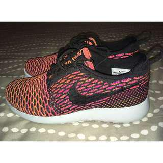 Nike Pink, Orange & Black Roshe Run Flyknit Sneakers Size 8
