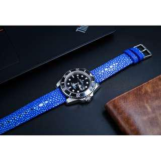 Blue Stingray Limited Edition Watch Strap Watch Band for 20mm Lug Watches Stingray Watch Strap Stingray Watch Band 20mm Stingray Bracelet