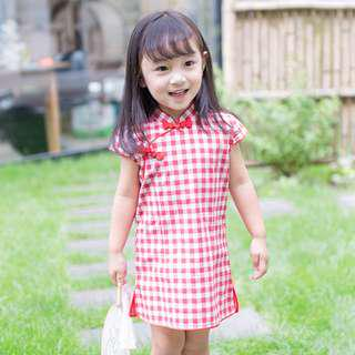 🚚 CS080 Girls Red Gingham Traditional Chinese Dress Cheongsam Qipao