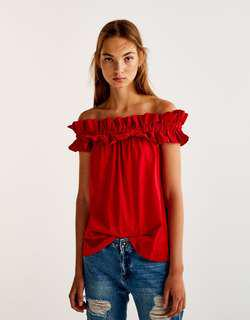 Pull & Bear Smoked Off Shoulder Frills Top - Red