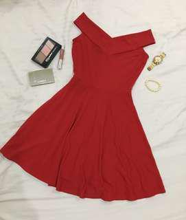 Sophisticated off shoulder Red Dress
