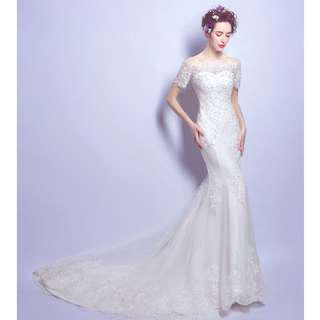 Wedding Collection - Soft Embroidered Lace T-Off Shoulder Design Mermaid Style Wedding Gown