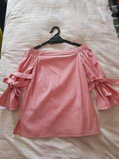 H&M pink off shoulder top size XXS