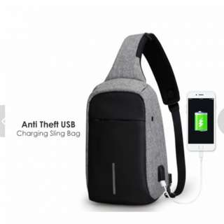 c5f8aa021c GV Anti-Theft Cross Body Sling Bag with USB Charging Cable
