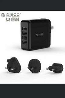 🚚 🆕💪✈USB Traver Charger with Converter EU UK AU Plug, ORICO 4 Ports USB Super Charger 5V6.8A34W Wall Charger (DSP-4U)