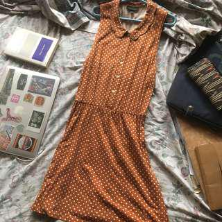 Topshop Casual Sleeveless Polka Dot Brown Dress