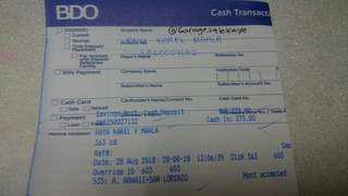 Proof -BDO Deposit