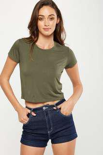 Cotton on Army Green Crop Top