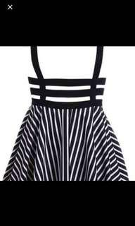 Striped Caged Suspender Skirt