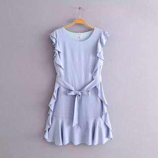 淺藍色連身裙 Ruffle sleeves dress office outfit sky blue