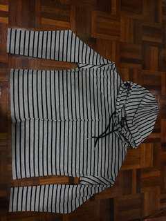 Strip long sleeve hoodie