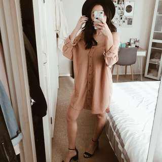 Cold Shoulder Collar Shirt Dress