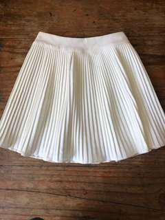 White Electric Pleated Skirt