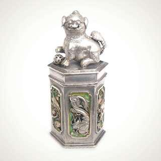 Early 20thC Chinese Export Silver Lidded Canister