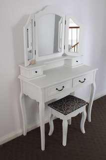 White mirrored makeup vanity