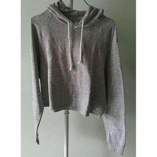 H&M Crop Hoodie Grey
