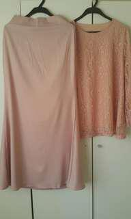 Baju Kurung Merah jambu/Pink cair, Top & Long Skirt Preloved