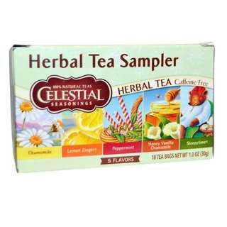 Celestial Seasonings, Herbal Tea Sampler, Caffeine Free, 5 Flavors, 18 Tea Bags, 1.0 oz (30 g)