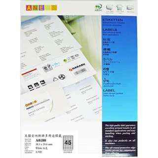 ANEOS Label A0180 : 38.1 x 29.6 mm , 一開45格, 每盒4500個 label
