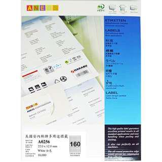 ANEOS Label A0256 : 22.0 x 12.0 mm, 一開160格, 每盒16000個label