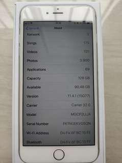 Iphone 6 plus 128 gb silver bekas bagus