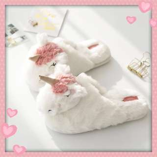 Unicorn Furry Bedroom Slippers Slip-On