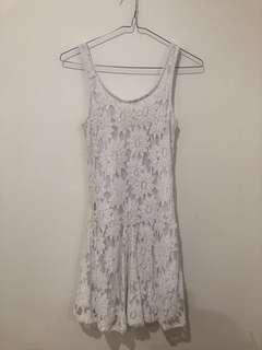 White floral lace dress