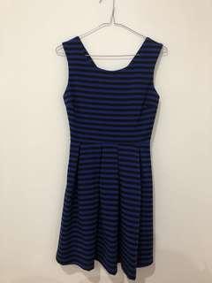 Blue/black striped dress
