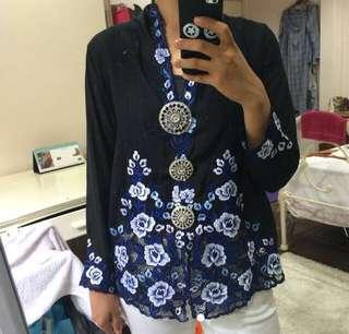 Black kebaya nyonya with blue and white embroidery fdf8978f10