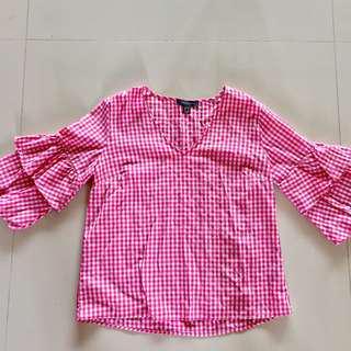 PRIMARK Gingham Top w/ Ruffled Sleeves