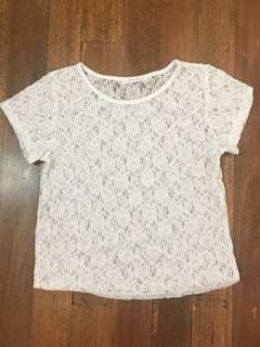 White Sheer Floral Top