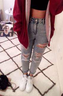 Top shop mom jeans distressed (ripped)