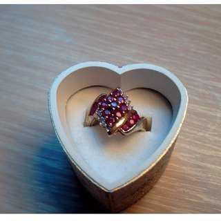Vintage 10k yellow gold Ruby & Diamond ladies Band Ring