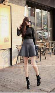 Korean Grey Flare Skirt