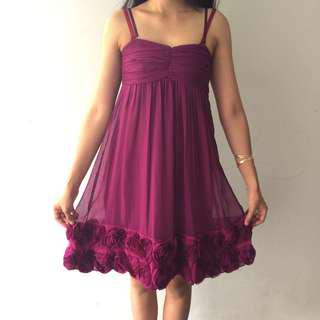 CHIC SIMPLE Pink magenta midi baby doll cocktail party dress
