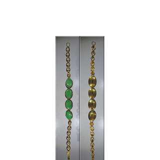 South-East Asian 22K Gold and Jade Panel Bracelet Vintage
