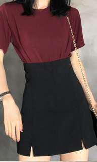 Korean Slit Black Skirt