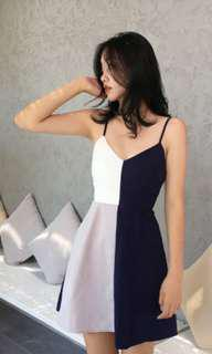 Korean Geometrical Blue Dress
