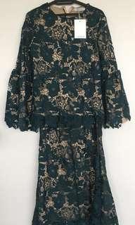 NWT. LUBNA lace kurung from Raya 2018 (dark green)
